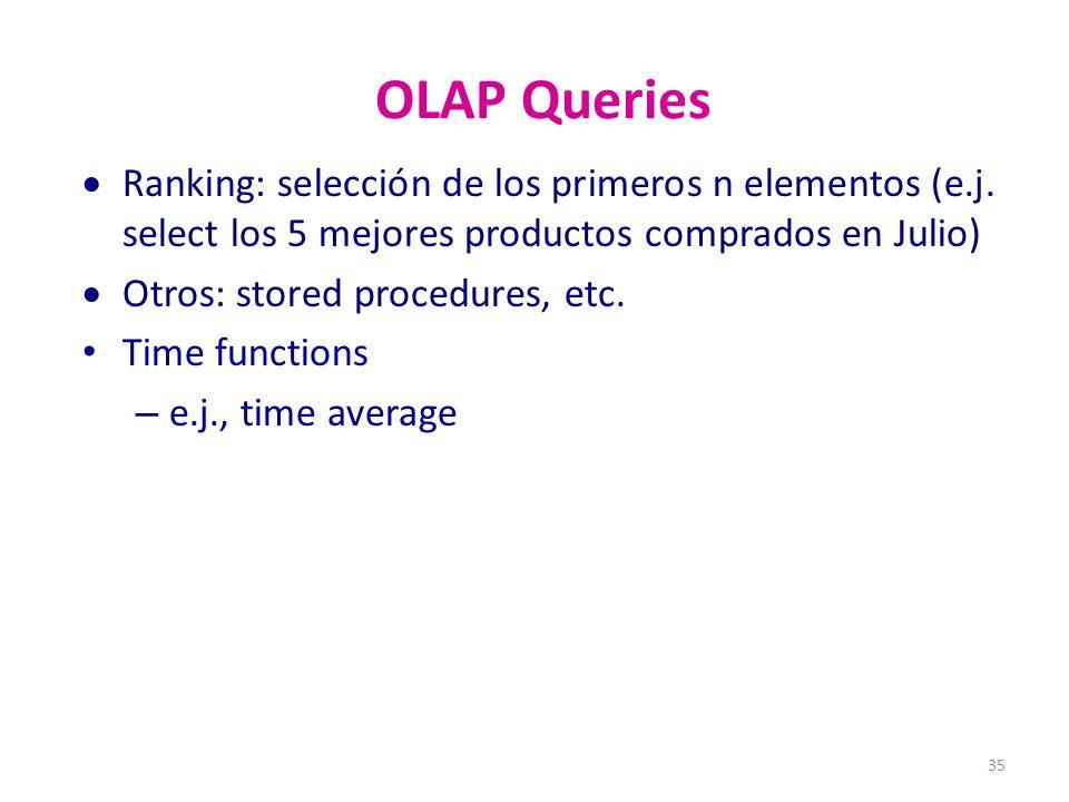 35 OLAP Queries Ranking: selección de los primeros n elementos (e.j.