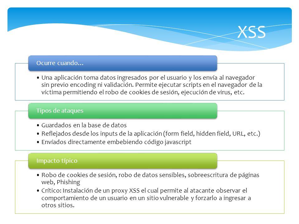 XSS Una aplicación toma datos ingresados por el usuario y los envía al navegador sin previo encoding ni validación. Permite ejecutar scripts en el nav