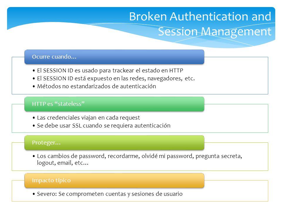 Broken Authentication and Session Management El SESSION ID es usado para trackear el estado en HTTP El SESSION ID está expuesto en las redes, navegado