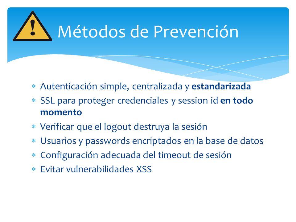 Autenticación simple, centralizada y estandarizada SSL para proteger credenciales y session id en todo momento Verificar que el logout destruya la ses