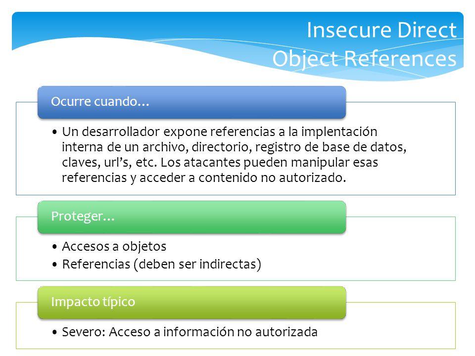 Insecure Direct Object References Un desarrollador expone referencias a la implentación interna de un archivo, directorio, registro de base de datos,