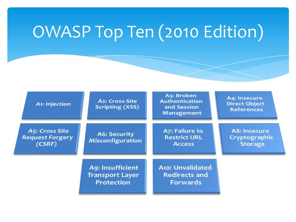 Métodos de Prevención No mostrar directamente los datos ingresados por el usuario Encode a la salida de los datos ingresados por el usuario Frameworks: filtrado y validación automática Enterprise Security API Creado por OWASP Provee un conjunto de interfases para encode y validación de datos Disponible en varios lenguajes.