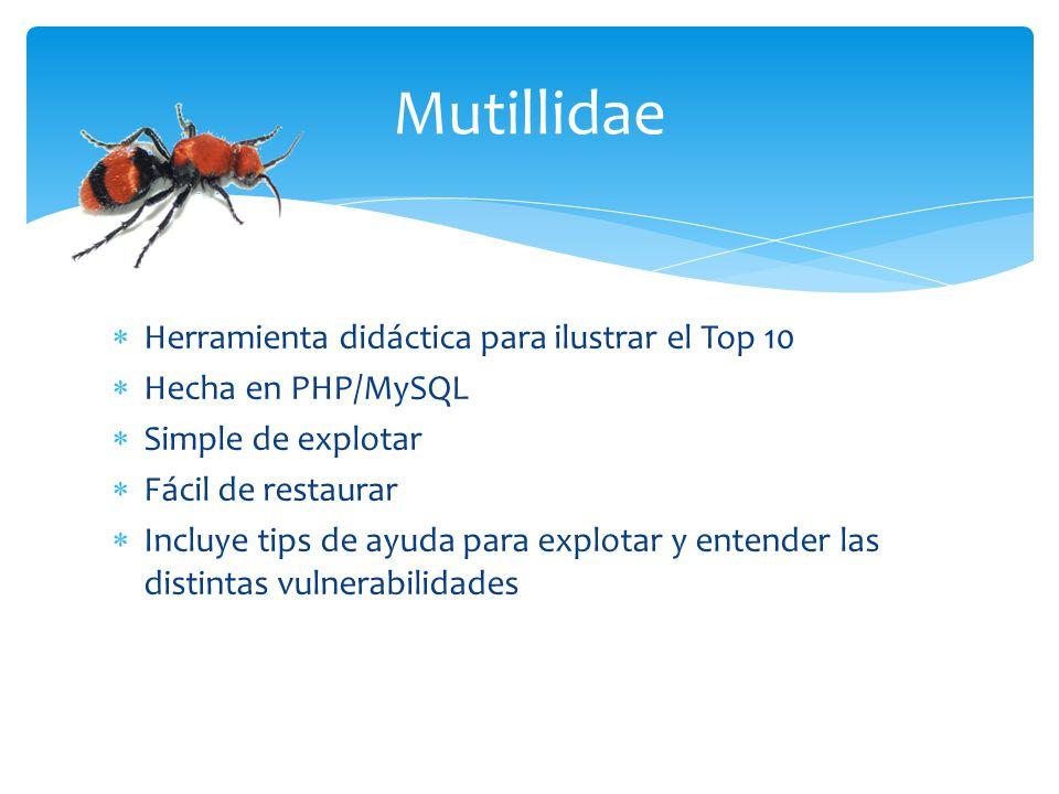 Mutillidae Herramienta didáctica para ilustrar el Top 10 Hecha en PHP/MySQL Simple de explotar Fácil de restaurar Incluye tips de ayuda para explotar