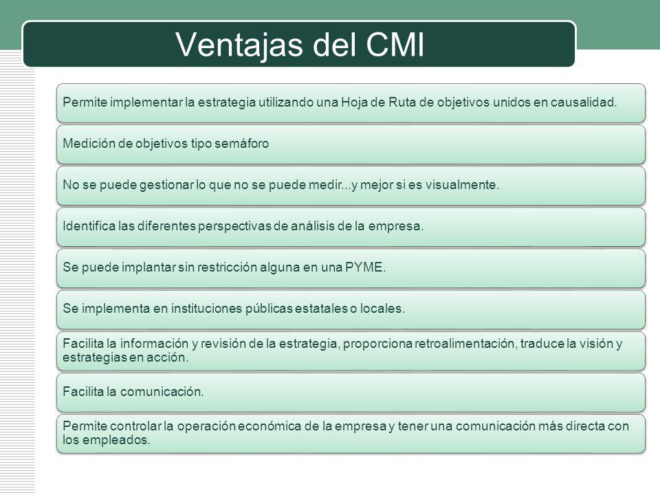 LOGO Ventajas del CMI Permite implementar la estrategia utilizando una Hoja de Ruta de objetivos unidos en causalidad.Medición de objetivos tipo semáf