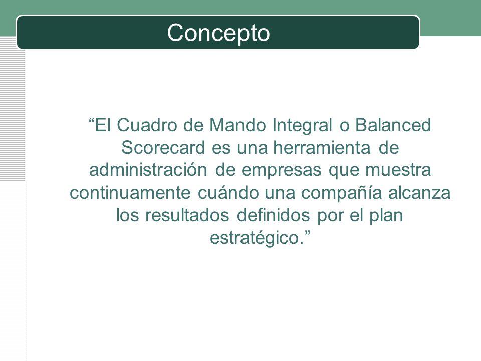 LOGO Concepto El Cuadro de Mando Integral o Balanced Scorecard es una herramienta de administración de empresas que muestra continuamente cuándo una c