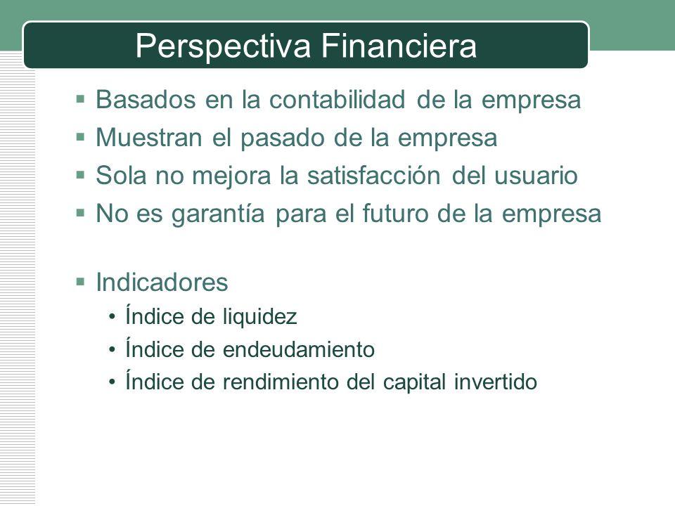 LOGO Perspectiva Financiera Basados en la contabilidad de la empresa Muestran el pasado de la empresa Sola no mejora la satisfacción del usuario No es
