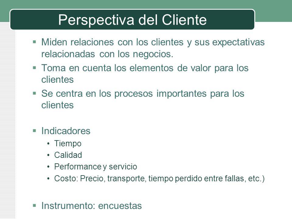 LOGO Perspectiva del Cliente Miden relaciones con los clientes y sus expectativas relacionadas con los negocios. Toma en cuenta los elementos de valor