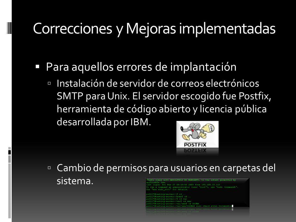Correcciones y Mejoras implementadas Para aquellos errores de implantación Instalación de servidor de correos electrónicos SMTP para Unix. El servidor
