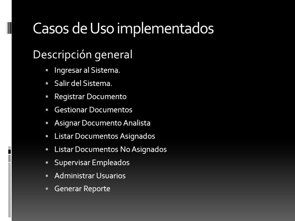 Casos de Uso implementados Descripción general Ingresar al Sistema. Salir del Sistema. Registrar Documento Gestionar Documentos Asignar Documento Anal