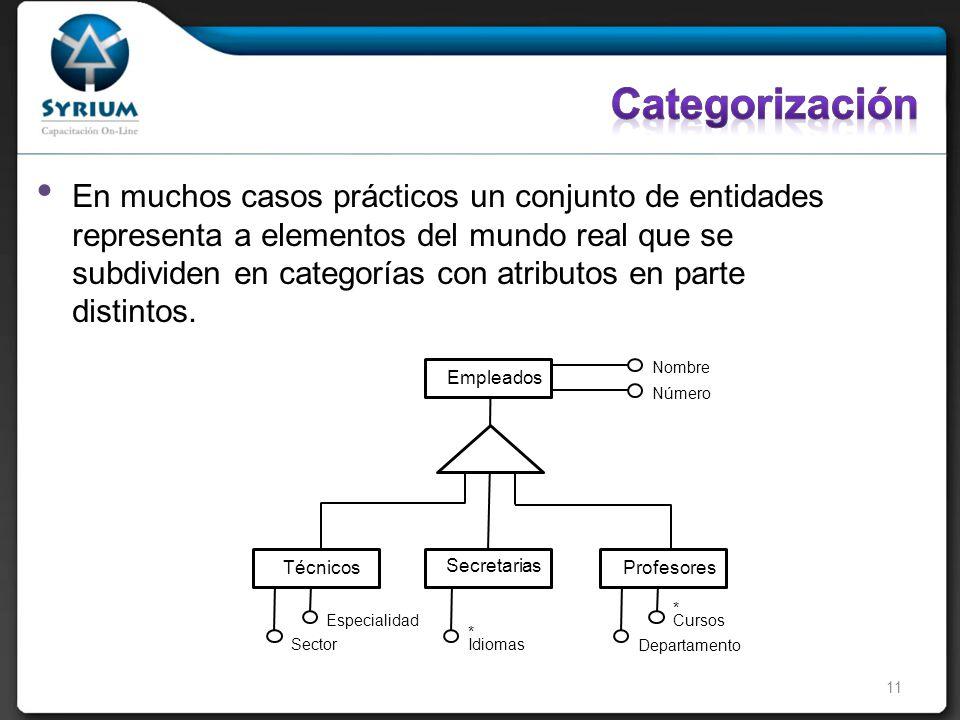 En muchos casos prácticos un conjunto de entidades representa a elementos del mundo real que se subdividen en categorías con atributos en parte distintos.