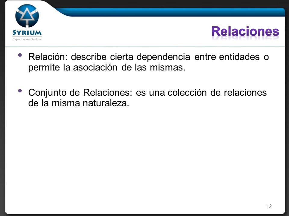 Relación: describe cierta dependencia entre entidades o permite la asociación de las mismas.