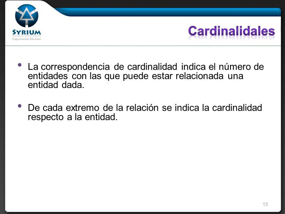 La correspondencia de cardinalidad indica el número de entidades con las que puede estar relacionada una entidad dada.