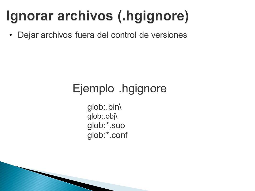 Dejar archivos fuera del control de versiones glob:.bin\ glob:.obj\ glob:*.suo glob:*.conf Ejemplo.hgignore