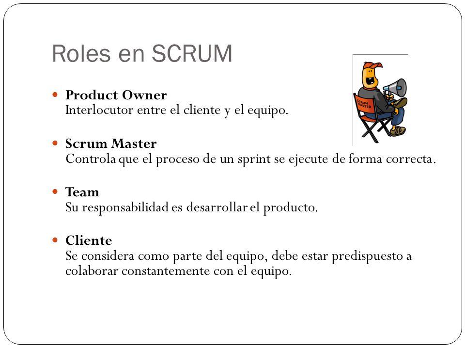 Roles en SCRUM Product Owner Interlocutor entre el cliente y el equipo. Scrum Master Controla que el proceso de un sprint se ejecute de forma correcta