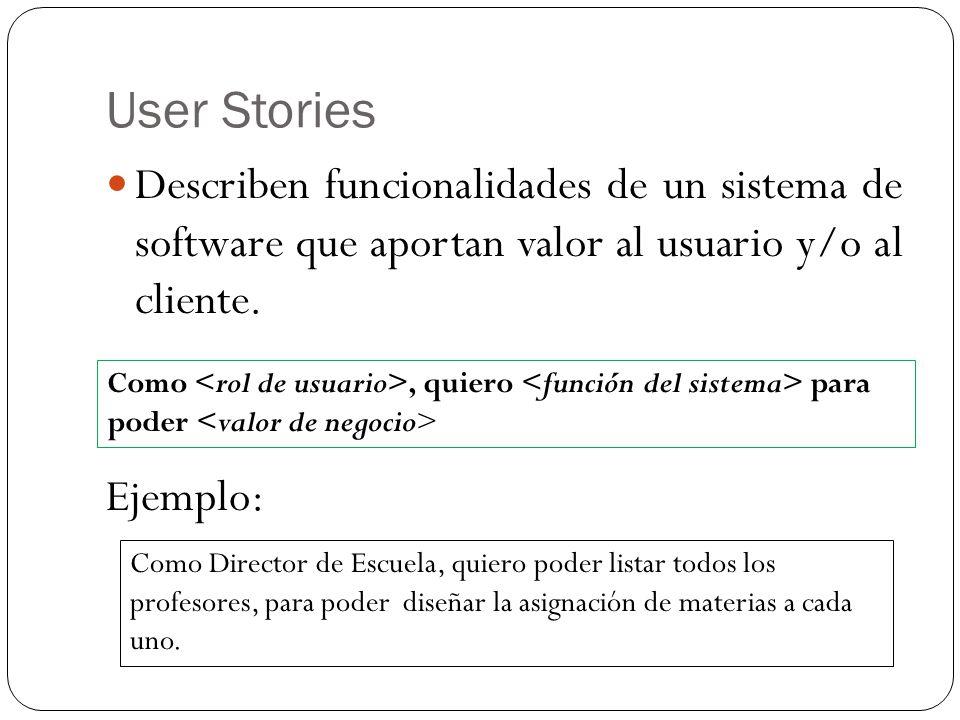User Stories Describen funcionalidades de un sistema de software que aportan valor al usuario y/o al cliente. Ejemplo: Como, quiero para poder Como Di
