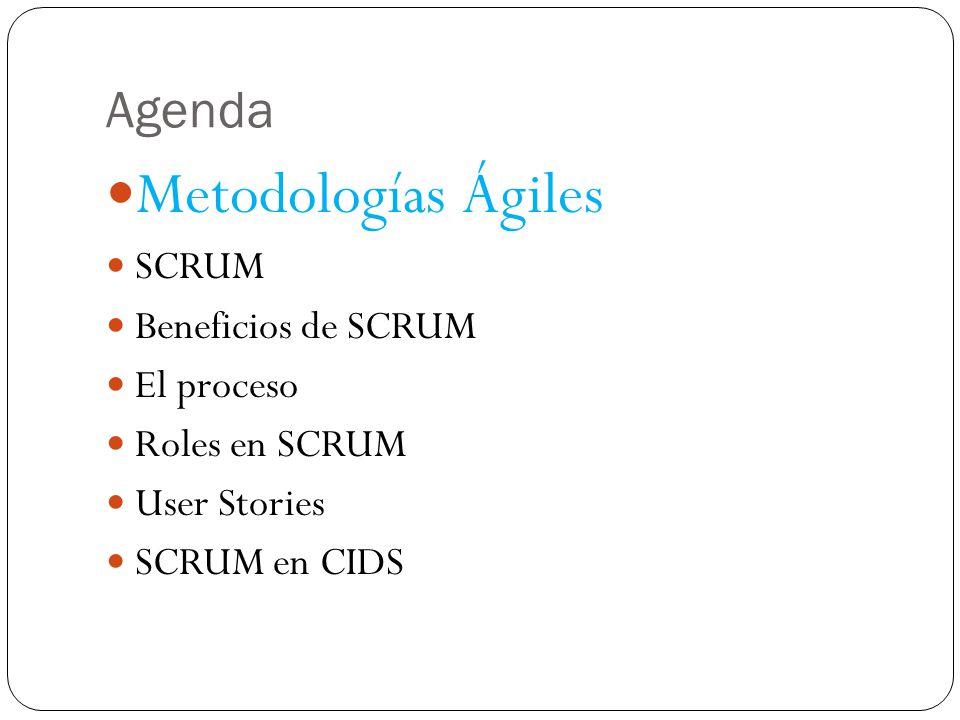 Metodologías Ágiles Marco de trabajo conceptual de la ingeniería de software que promueve iteraciones (sprints) en el desarrollo a lo largo de todo el ciclo de vida del proyecto Minimiza riesgos desarrollando software en lapsos de tiempo cortos.
