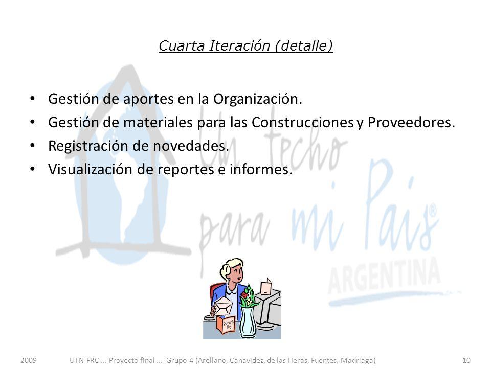 Cuarta Iteración (detalle) Gestión de aportes en la Organización.