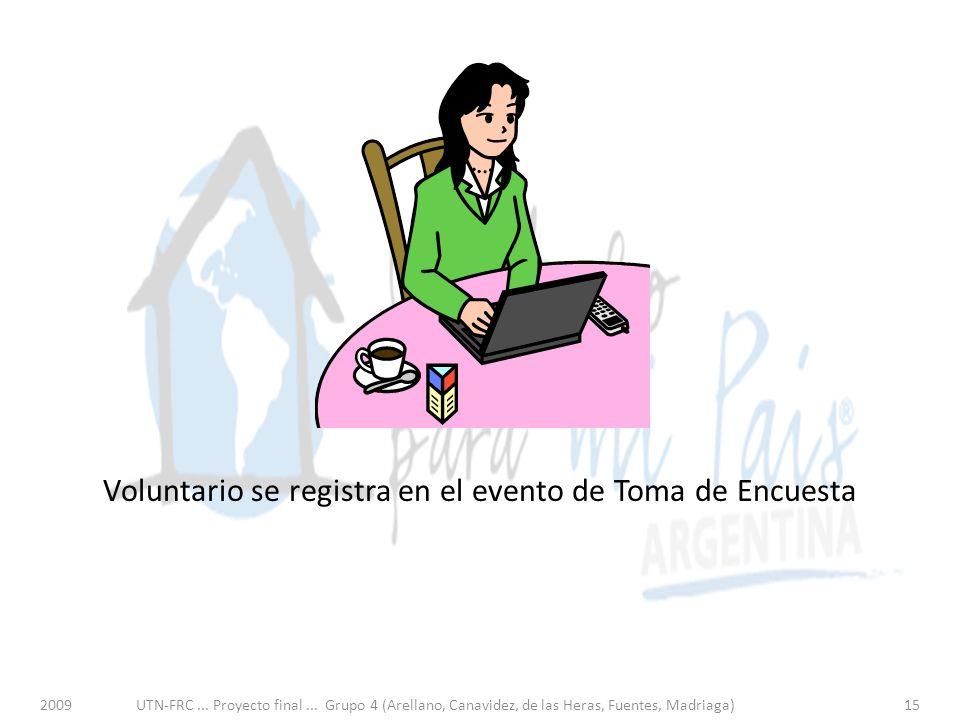 Voluntario se registra en el evento de Toma de Encuesta 2009UTN-FRC...