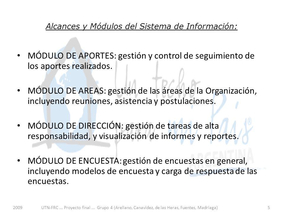Alcances y Módulos del Sistema de Información: MÓDULO DE APORTES: gestión y control de seguimiento de los aportes realizados.