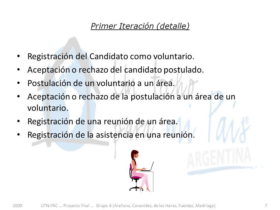 Primer Iteración (detalle) Registración del Candidato como voluntario.