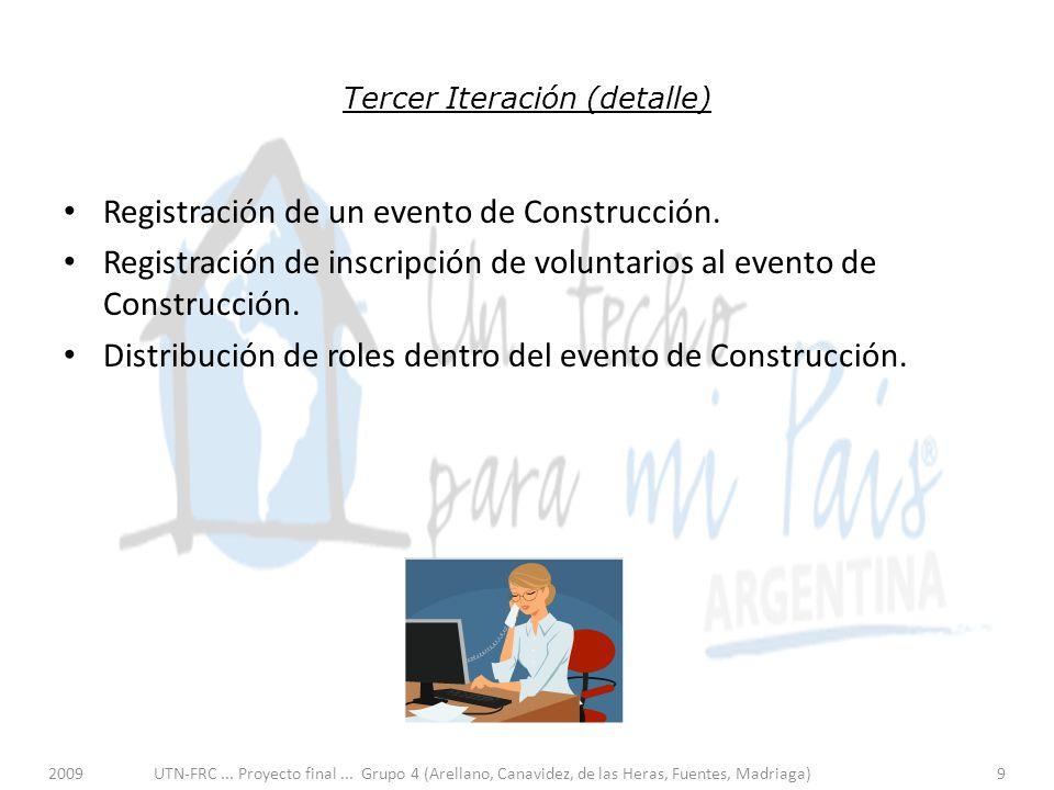 Tercer Iteración (detalle) Registración de un evento de Construcción.