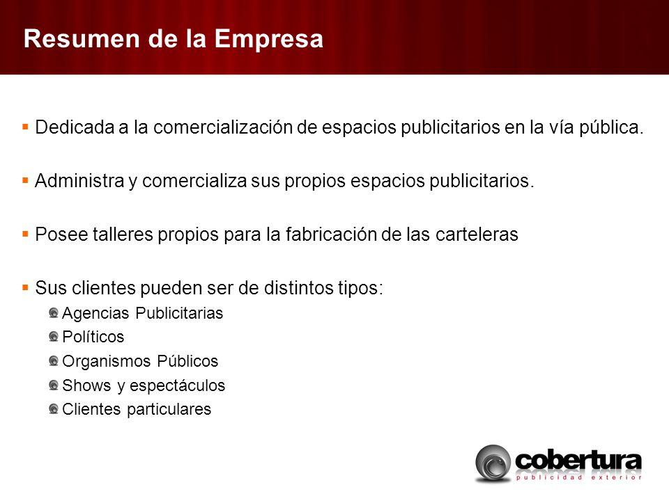 Resumen de la Empresa Dedicada a la comercialización de espacios publicitarios en la vía pública.