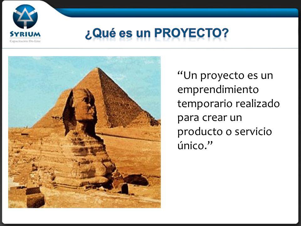 Un proyecto es un emprendimiento temporario realizado para crear un producto o servicio único.