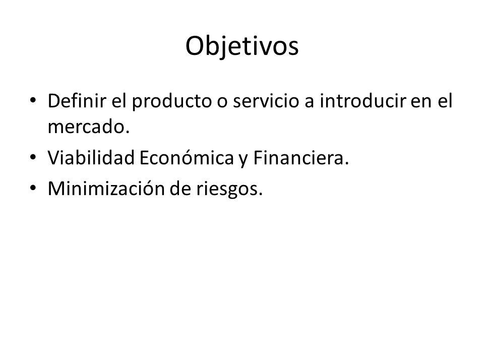 Objetivos Definir el producto o servicio a introducir en el mercado. Viabilidad Económica y Financiera. Minimización de riesgos.