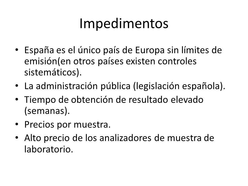 Impedimentos España es el único país de Europa sin límites de emisión(en otros países existen controles sistemáticos). La administración pública (legi