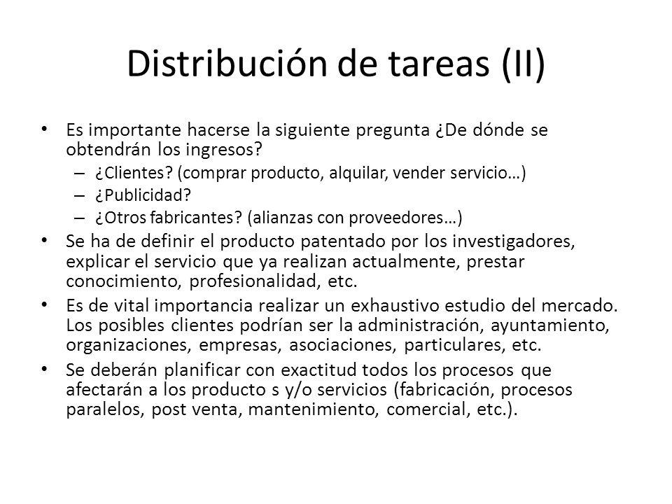 Distribución de tareas (II) Es importante hacerse la siguiente pregunta ¿De dónde se obtendrán los ingresos? – ¿Clientes? (comprar producto, alquilar,