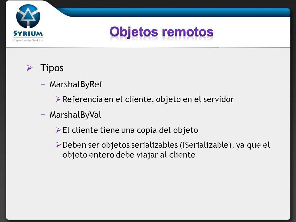 Tipos MarshalByRef Referencia en el cliente, objeto en el servidor MarshalByVal El cliente tiene una copia del objeto Deben ser objetos serializables