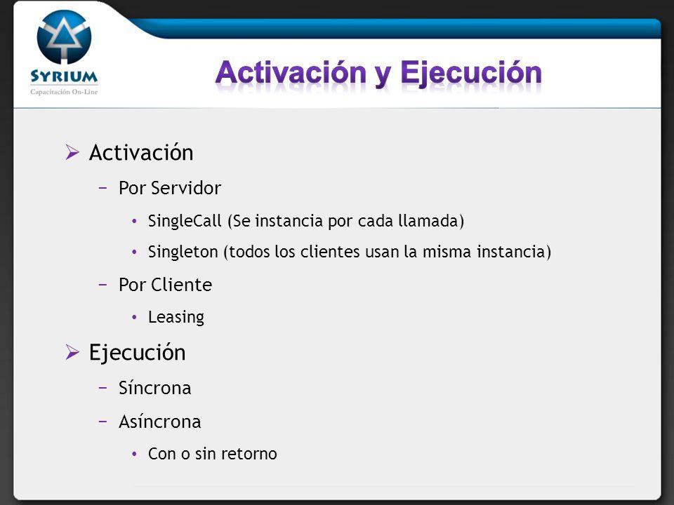 Activación Por Servidor SingleCall (Se instancia por cada llamada) Singleton (todos los clientes usan la misma instancia) Por Cliente Leasing Ejecució