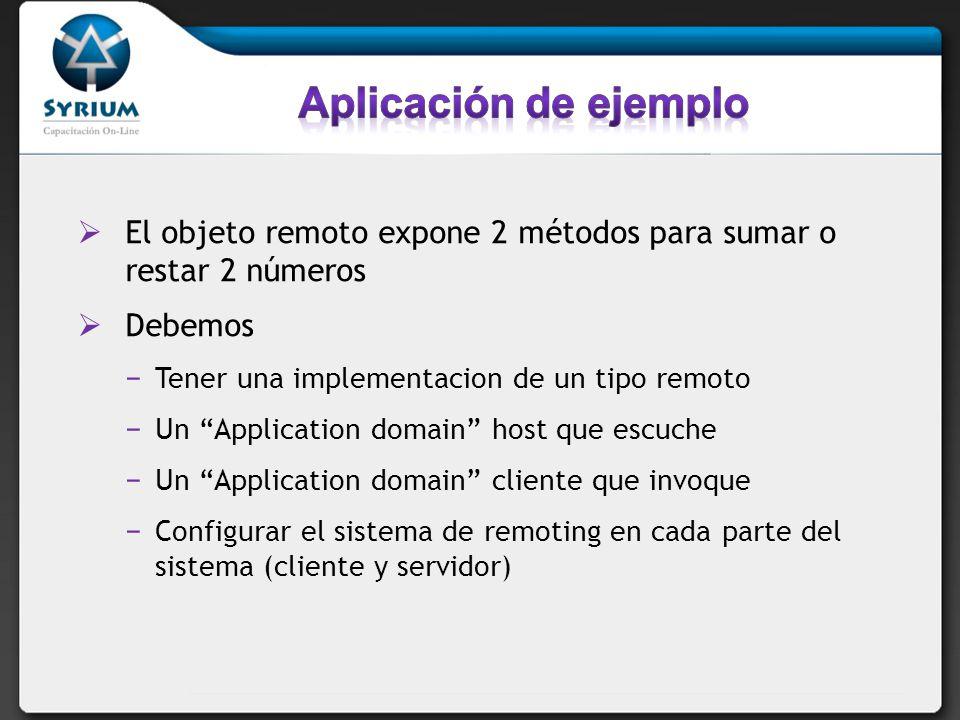 El objeto remoto expone 2 métodos para sumar o restar 2 números Debemos Tener una implementacion de un tipo remoto Un Application domain host que escu
