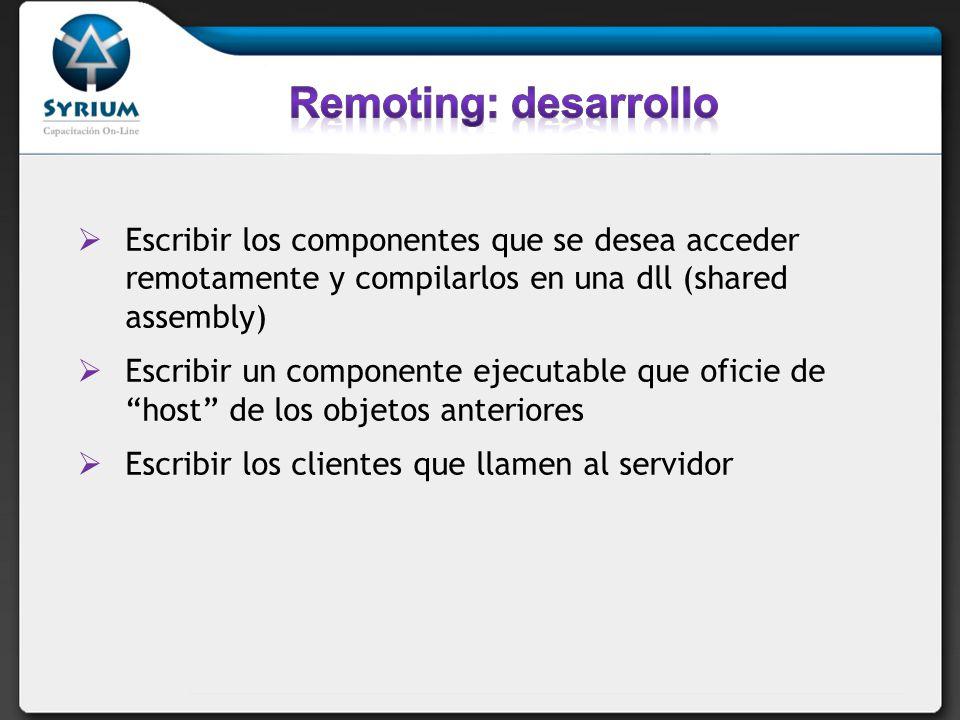 Escribir los componentes que se desea acceder remotamente y compilarlos en una dll (shared assembly) Escribir un componente ejecutable que oficie de h