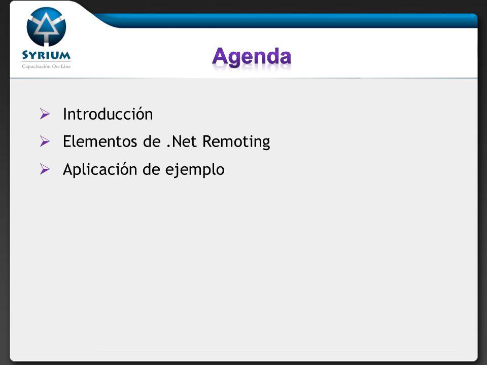 Introducción Elementos de.Net Remoting Aplicación de ejemplo