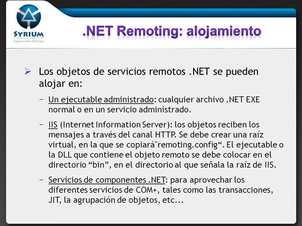 Los objetos de servicios remotos.NET se pueden alojar en: Un ejecutable administrado: cualquier archivo.NET EXE normal o en un servicio administrado.