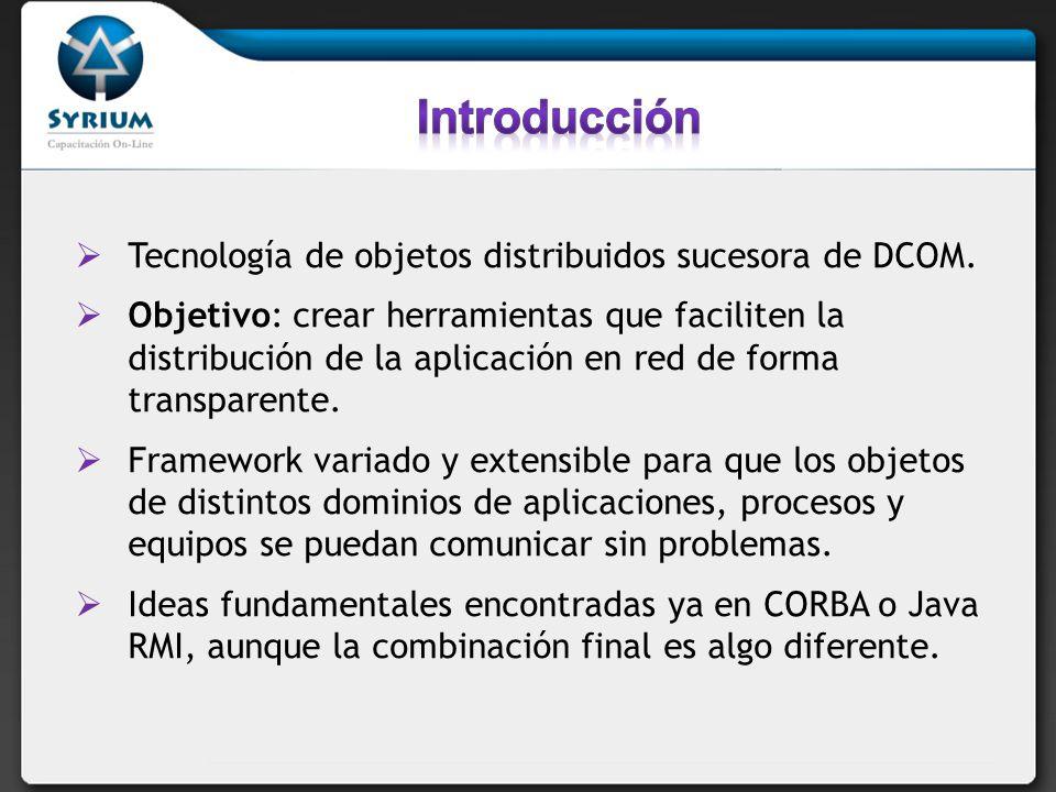 Tecnología de objetos distribuidos sucesora de DCOM. Objetivo: crear herramientas que faciliten la distribución de la aplicación en red de forma trans