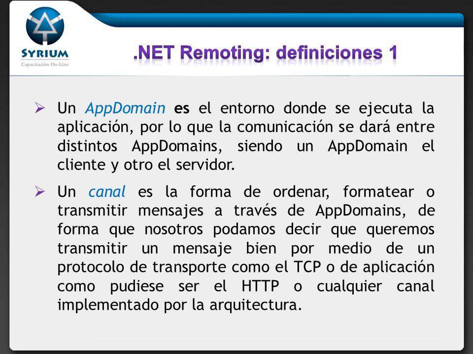 Un AppDomain es el entorno donde se ejecuta la aplicación, por lo que la comunicación se dará entre distintos AppDomains, siendo un AppDomain el clien