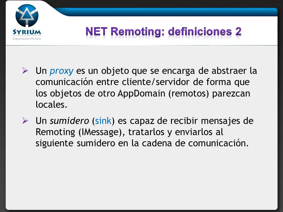 Un proxy es un objeto que se encarga de abstraer la comunicación entre cliente/servidor de forma que los objetos de otro AppDomain (remotos) parezcan
