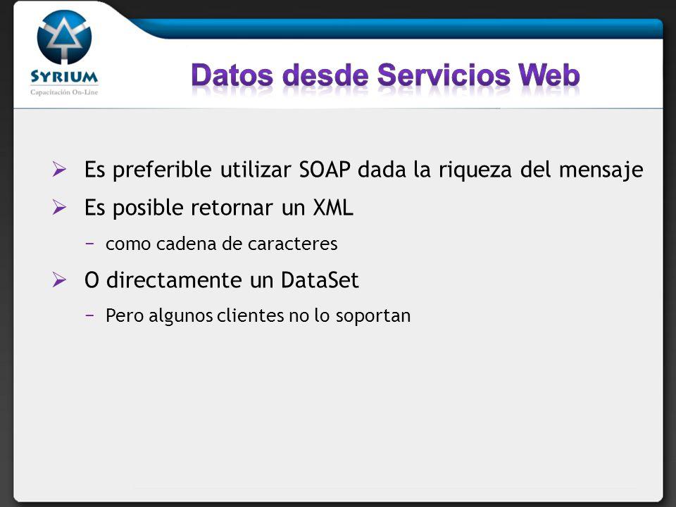 Es preferible utilizar SOAP dada la riqueza del mensaje Es posible retornar un XML como cadena de caracteres O directamente un DataSet Pero algunos clientes no lo soportan
