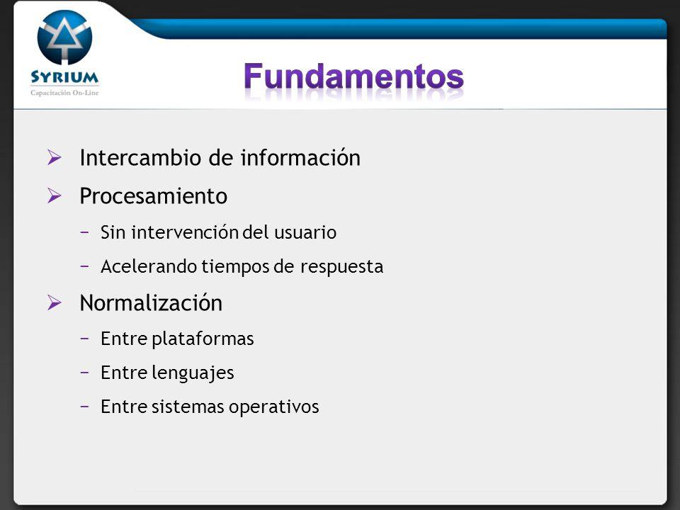 Intercambio de información Procesamiento Sin intervención del usuario Acelerando tiempos de respuesta Normalización Entre plataformas Entre lenguajes Entre sistemas operativos