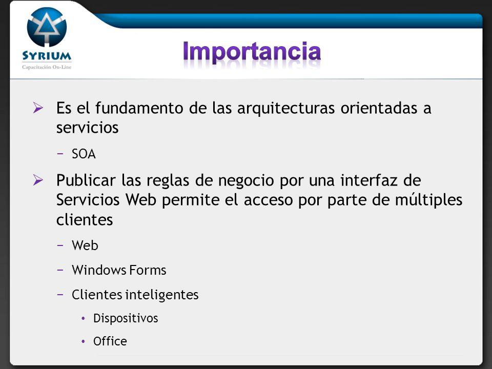 Es el fundamento de las arquitecturas orientadas a servicios SOA Publicar las reglas de negocio por una interfaz de Servicios Web permite el acceso por parte de múltiples clientes Web Windows Forms Clientes inteligentes Dispositivos Office