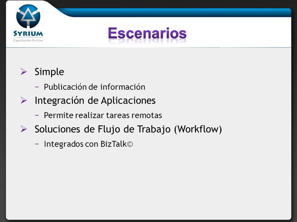 Simple Publicación de información Integración de Aplicaciones Permite realizar tareas remotas Soluciones de Flujo de Trabajo (Workflow) Integrados con BizTalk©