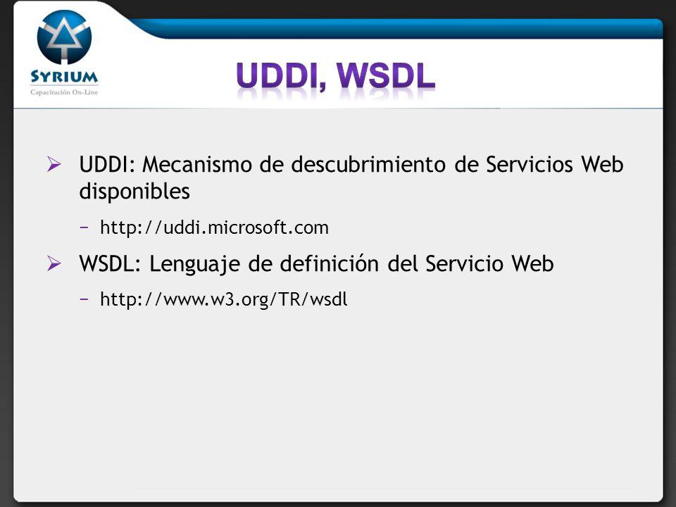 UDDI: Mecanismo de descubrimiento de Servicios Web disponibles http://uddi.microsoft.com WSDL: Lenguaje de definición del Servicio Web http://www.w3.org/TR/wsdl