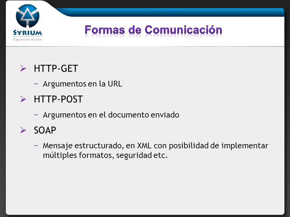 HTTP-GET Argumentos en la URL HTTP-POST Argumentos en el documento enviado SOAP Mensaje estructurado, en XML con posibilidad de implementar múltiples formatos, seguridad etc.