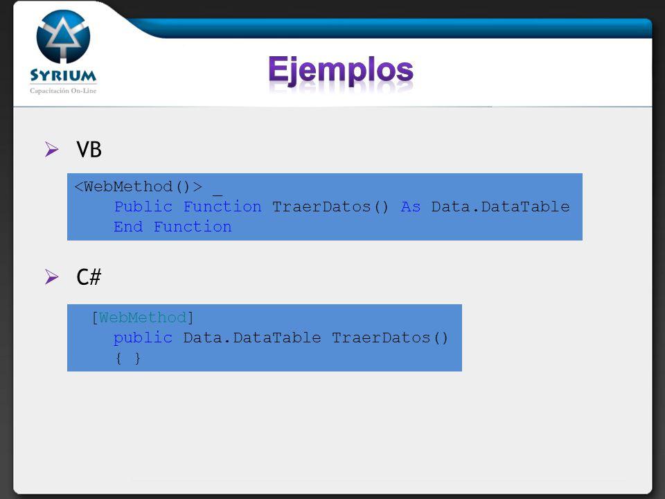 WSE Actualmente en beta la versión 3 Específica para ASP.Net 2.0 Facilita autenticación de usuarios Encriptación de datos Transmisión de grandes volúmenes binarios Permite publicar servicios Web vía TCP sin necesidad de IIS