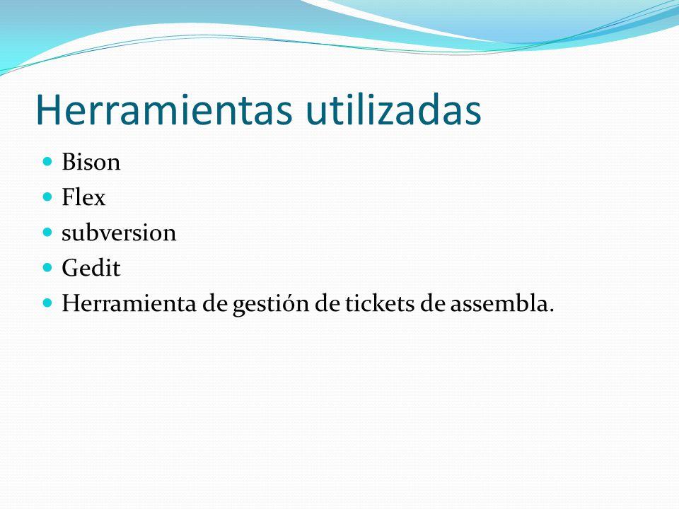 Herramientas utilizadas Bison Flex subversion Gedit Herramienta de gestión de tickets de assembla.