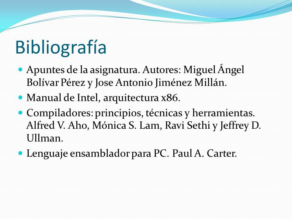 Bibliografía Apuntes de la asignatura.