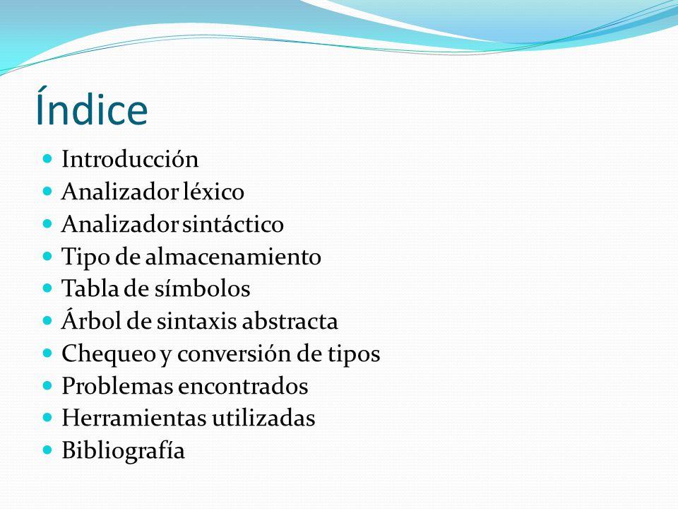 Índice Introducción Analizador léxico Analizador sintáctico Tipo de almacenamiento Tabla de símbolos Árbol de sintaxis abstracta Chequeo y conversión de tipos Problemas encontrados Herramientas utilizadas Bibliografía
