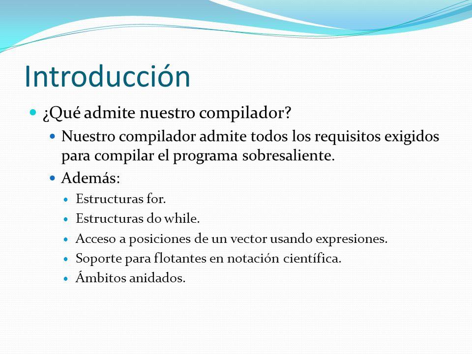 Introducción ¿Qué admite nuestro compilador.